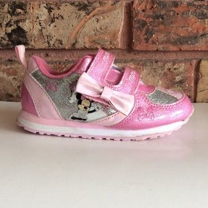 Pink Minnie Mouse Light Up Velcro Bow Sneakers 8 T